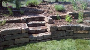 Rustic stone steps and walls