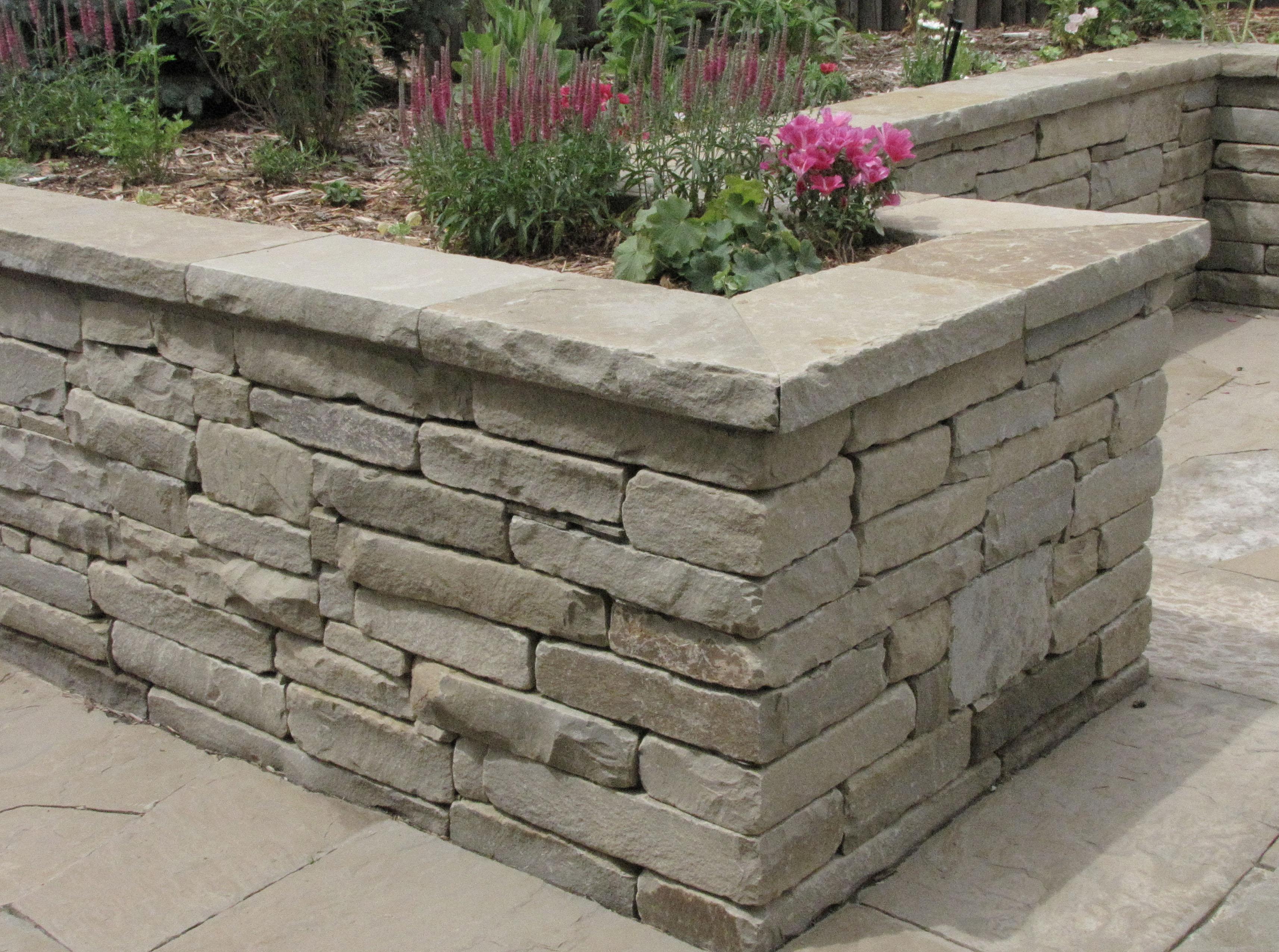Crisp corners of a stone wall speak of fine craftsmanship.